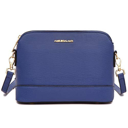 Crossbody Bags for Women, Lightweight Medium Dome Purses and Handbags with Adjustable Strap and Golden Hardwares (Blue)
