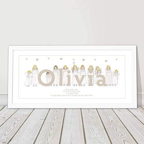 Geschenk Baby, Geburt, Taufgeschenk, personalisiert, Bild mit Namen für Babys und Kinder, Kommunion, Schutzengelbild