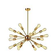 Sputnik Chandelier Brass 18 Light Mid Century Modern Pendant Lighting Industrial Vintage Ceiling Light UL Listed by VINLUZ