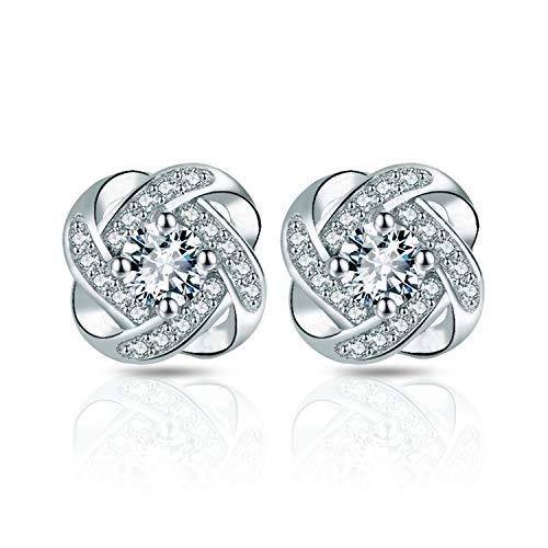 Pendientes para mujer plata de ley 925, recubrimiento de diamante hipoalergénico 5 A circonita para regalo niña