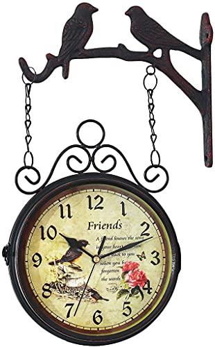 Reloj De Pared Retro De Doble Cara, Reloj Impermeable para Jardín Al Aire Libre con Espejo De Cristal, Decoración Silenciosa del Hogar Reloj De Estación Giratorio De 360 Grados
