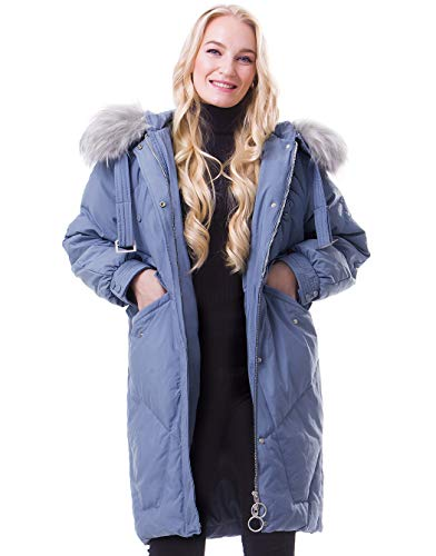 Morcoe Damen verdickte Daunenjacke Winter Anorak Mantel mit 80% Daunen Outdoor Parka Puffer Jacke -  Blau -  X-Groß