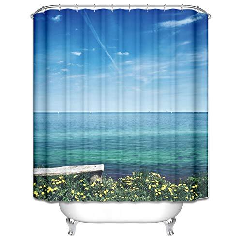 Amody Duschvorhang Waschbar Holzbank Gelbe Blume Duschvorhang Badezimmer Waschbar Blau Duschvorhang Bad 120x180CM