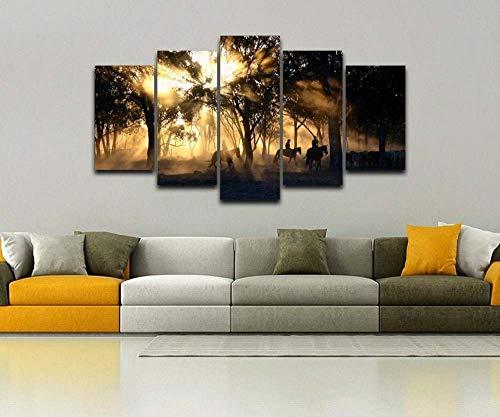 VYQDTNR Stampa HD 5 Pezzi su Tela Arte Cowboys on Horseback Morning Sun Pittura Quadri Murali per Soggiorno Decorazione Modulare 30Cm * 40Cm * 2 30Cm * 60Cm * 2 30Cm * 80Cm * 1 Senza Cornice