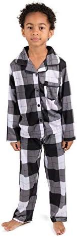 Leveret Kids Pajamas Flannel Pajamas Boys Girls 2 Piece Christmas Pajama Set Black White Plaid product image
