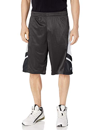 Southpole Men's Basic Basketball Mesh Shorts, Black, Medium