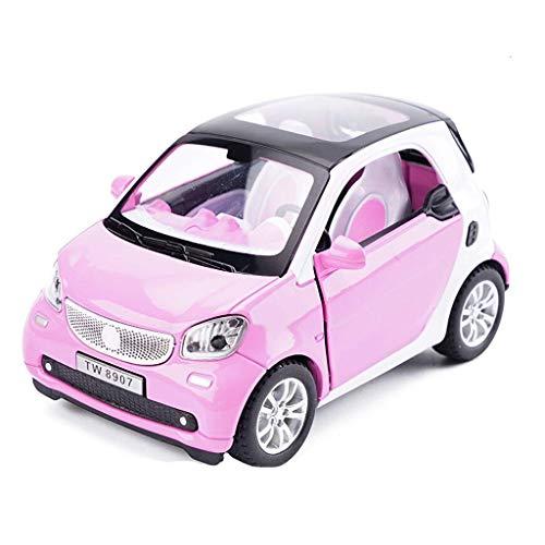 KKD Scale-Modellfahrzeuge Modellauto Smart Automodell Maßstab 1:24 Modell Druckguss Modell Spielzeug Modell Legierung Modellsammlung Dekorative Rosa Mini Fahrzeuge
