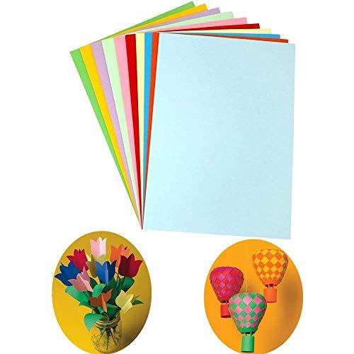 TOKERD 100 hojas Cartulinas de Colores a4 para Manualidades 300g/m² Papel de Color A4 Origami con 10 Vivos Colores