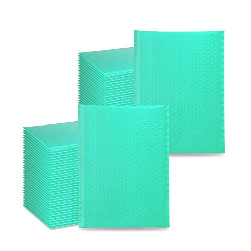 Edvision 62Pcs 8.5 x 11 Inch Poly Bubble Mailers, Self Seal Padded Envelopes Bubble Mailers, Waterproof Bubble Mailing Envelopes for Shipping and Packaging - Teal