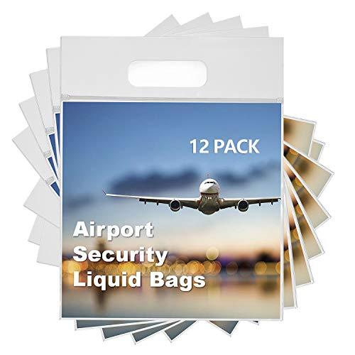 MOCOCITO Neceser y Bolsa Transparente para Líquidos en el Equipaje de Mano.Bolsas de Líquidos para Viaje en Avión, Plástico y Resellable con Dimensión de 20 x 20cm y Capacidad de un litro [12 Pcs]