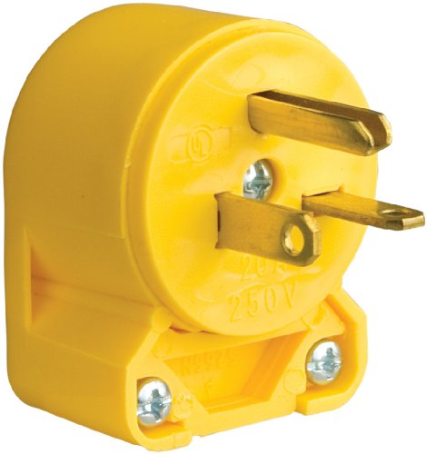 EATON Wiring 4509AN-SP-L Commercial Grade Vinyl Angled Plug with 20-Amp, 250-Volt, 6-20-NEMA Rating, Yellow