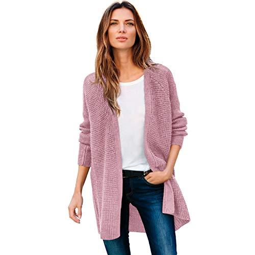 ellos Women's Plus Size Open Front Waffle Cardigan Sweater - 5X, Dusty Pink