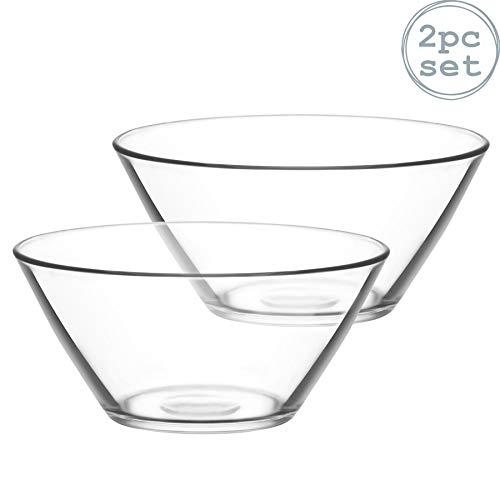 Salatschüssel Vega von LAV, Glas 2,2 Liter; Rührschalen(Servierschalen für Pasta, Popcorn, 2 Stück