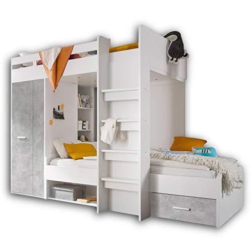 Stella Trading MAXI Hochbett mit Schrank & 2x Liegeflächen 90 x 200 cm - Platzsparendes Kinder Etagenbett in Beton-Optik, weiß - 269 x 180 x 115 cm (B/H/T)