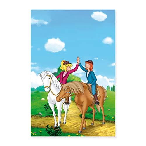 Spreadshirt Bibi und Tina Geben Sich High Five Poster 40x60 cm, Weiß