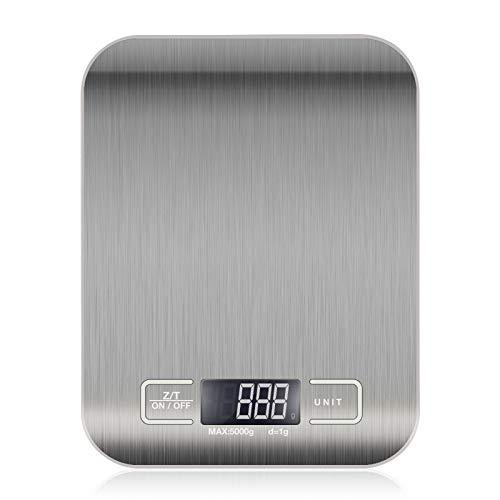 QINLIAN Báscula de cocina digital, báscula electrónica para alimentos, (5KG / 1g), utilizada en cocina, ingredientes, joyería, medicina, café, té, etc. (Metallic white)