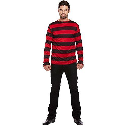 Jersey de Adulto Para Disfraz A Rayas (Negro/Rojo)