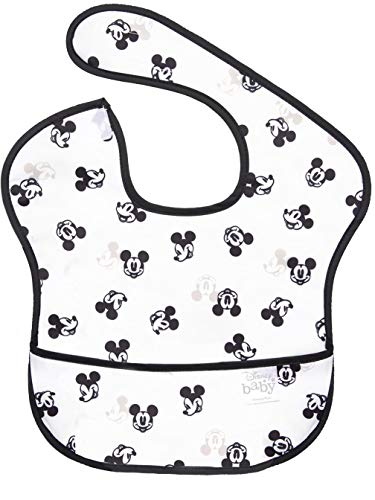 bumkins(バンキンス) ディズニーコラボビブシリーズ 油が落ちるスタイ【日本正規品】スーパービブ 柔らかくて軽量 洗濯機で洗えてすぐ乾く お食事用防水ビブ 6~24ヶ月 Mickey Mouse Faces B+W(ホワイト) ワンサイズ BM-SDMK12