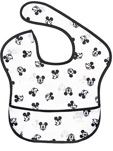 bumkins(バンキンス) ディズニーコラボビブシリーズ 油が落ちるスタイ【日本正規品】スーパービブ 柔らかくて軽量 洗濯機で洗えてすぐ乾く お食事用防水ビブ 6~24ヶ月 Mickey Mouse Faces B+W(ホワイト) BM-SDMK12