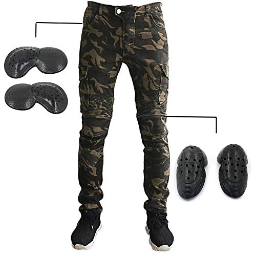 Motorradhose Herren Motorrad Reithose Denim Jeans mit Upgrade Protect Pads Ausrüstung Racing Knight Pants Camouflage Jeans 34