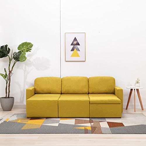 WooDlan Sofá Cama Modular de 3 Plazas Tela Amarillo 216 x 149 x 72 cm