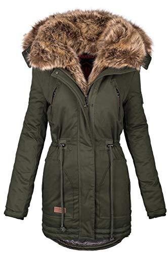 Navahoo warme Damen Winter Jacke Parka lang Mantel Winterjacke Fell Kragen B380 [B380-Grün-Gr.L]