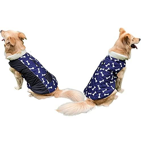 Ropa de perro de lana reversible para perros Chaqueta de cachorro caliente para abrigos de perros de invierno frío, chaleco de perro con seguridad reflectante (Color : Navy blue, Size : L)