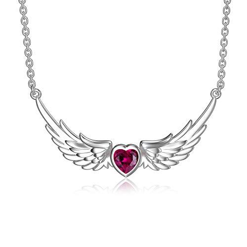 ROMANTICWORK Collar de alas de ángel de plata de ley con colgante de alas de ángel para mujeres y niñas