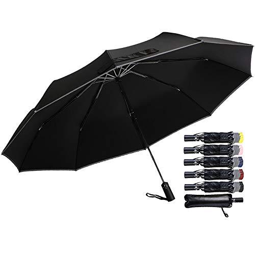 Automatik Golf Regenschirm 120cm/47 Zoll Groß mit 10 Rippen und Doppel Baldachinmit Teflon-Beschichtung 210T Stoff, Windsicher, Wasserabweisend, Freien UV Regenschirm, Inverted für Auto