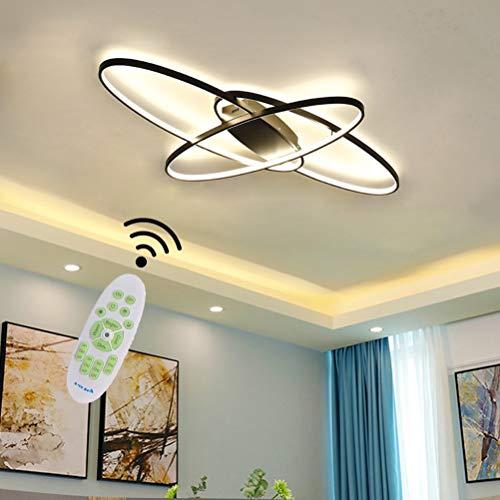 Moderna Lámpara de techo LED para Salón Regulable Color Negro para Dormitorio Comedor Lámpara Colgante Oval Lámpara de techo Lámpara de mesa Cocina Baño Decor Con mando a distancia Iluminación