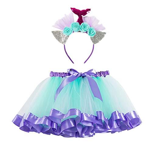TENDYCOCO Disfraz Sirena Tutu Falda Diadema de Sirena Vestido de Princesa para Regalo de Cumpleaños Niña22 x 2 cm (tamaño S)