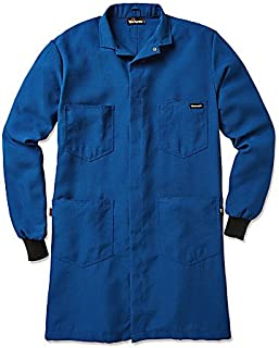 Workrite Uniform 357NX45RBMD 0R Flame-Resistant Lab Coat with Knit Cuffs, Medium Size, 4.5 oz. Nomex IIIA Fabric, Royal Blue