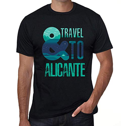 One in the City Hombre Camiseta Vintage T-Shirt Gráfico and Travel To Alicante Negro Profundo