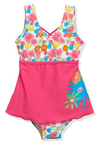 Playshoes Mädchen UV-Schutz Badeanzug mit Rock Blumenmeer Einteiler, Mehrfarbig (Pink 18), 110 (Herstellergröße: 110/116)
