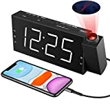 "Projection Alarm Clock for Bedroom, Digital Alarm Clocks for Bedrooms Ceiling, LED Digital Clock with Power Adapter, 7""Large Digtal LED Display&Dimmer, USB Charger,Dual Alarms,12/24H DST"