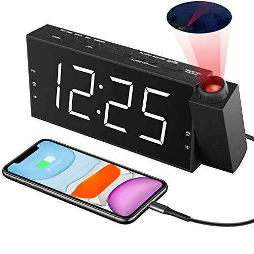"""Projection Alarm Clock for Bedroom, Digital Alarm Clocks for Bedrooms Ceiling, LED Digital Clock with Power Adapter, 7""""Large Digtal LED Display&Dimmer, USB Charger,Dual Alarms,12/24H DST"""