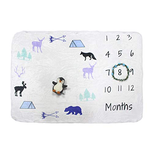 Bonus Items - Baby Monthly Milestone Blanket Large with Bonus Wreath, Penguin Plush & Cloth Book Soft Photography Background Blanket | Newborn Girls or Boys Photo Prop | Best Months Watch Me Grow