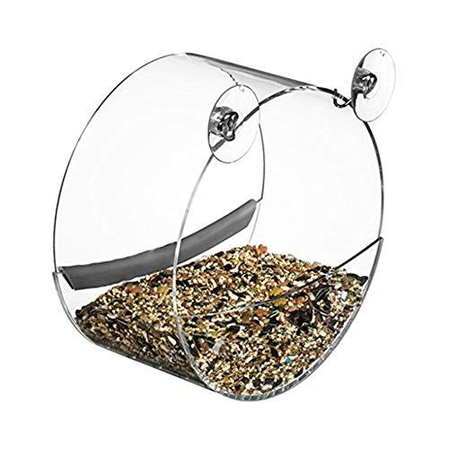 CHONGYA Vogelvoer Acryl Transparant Voedsel Doos Rond Opknoping Sparrow Papegaai Zaad Pindakaas Vogelvoer Huis Raam Zuignap Tool Kleur: wit
