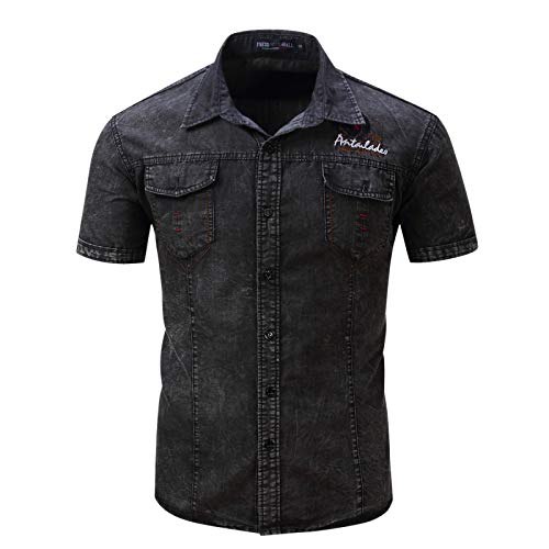 Camisa de Mezclilla desgastada Retro para Hombre Camisa de Manga Corta Regular de Todo fósforo Informal de Resistencia al Aire Libre de Moda con Bolsillos XL