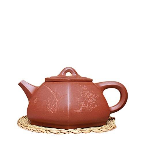 ADSE High-end Tea Craftsmen Hand-Made Tea Maker Sand Pot Hexagonal Scoop Teapot (Color : Purple mud)