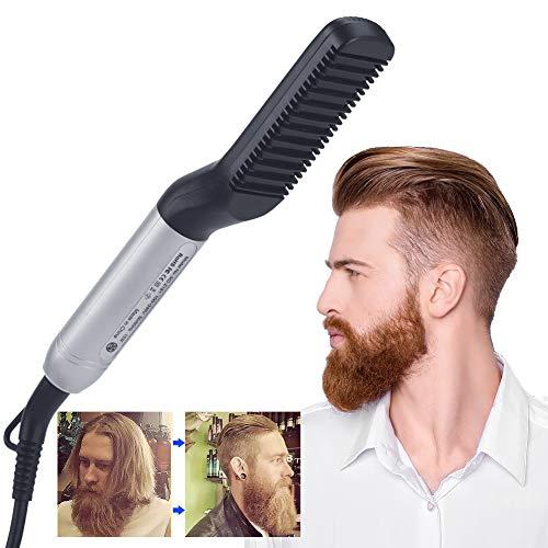 Alisador de barba para hombres, cepillo alisador de barba eléctrico con doble voltaje de 110 – 240 V, calentamiento rápido, ideal para peinados de cabello de hombre