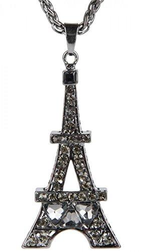 styleBREAKER Halskette mit Eiffelturm als massiver Anhänger, Strasssteine und Zopfkette, Damen Schmuck 05030007, Farbe:Anthrazit