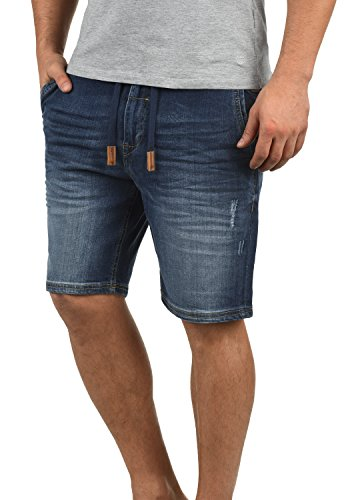 Blend Bartels Herren Jeans Shorts Jogger-Denim Kurze Hose Mit Elastischem Bund Und Destroyed-Optik Aus Stretch-Material Slim Fit, Größe:XL, Farbe:Denim Darkblue (76207)