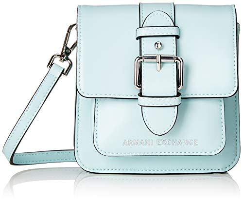 Armani Exchange Damen Small Crossbody Bag Umhängetasche, Blau (Water Fall), 15x5x14.5 cm