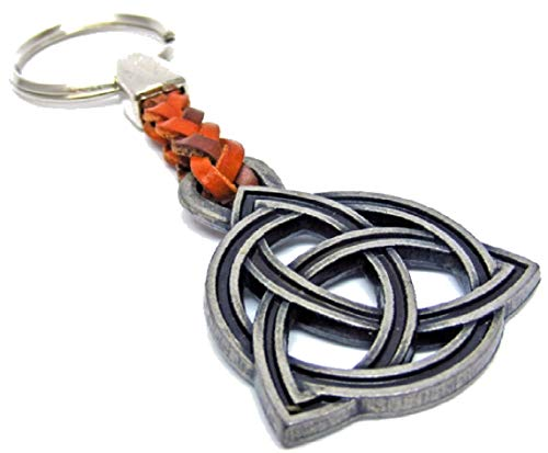 Keltischer Knoten-Glücksbringer-Metall mit Lederband-Schlüsselanhänger-Keyholder-Schlüssel-Keyrings