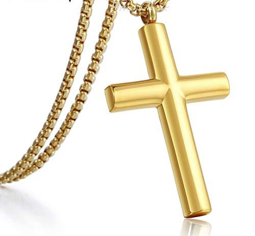 Trendsmax lucido cross pendante collana per uomini instaless acciaio scatola collegare uomo catena oro colore d'oro