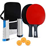 Uppye Ping Pong Paddle Set - 7 Piece Tabletop Table Tennis Set