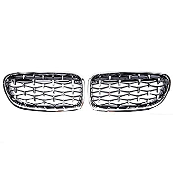 XYRDM Kidney Grill Geetha Car Front Diamond for BMW 5 Series F10 F11 F18 520i 523i 528i 530i 10-16 Bumper Sport Racing Grills,Sliver3