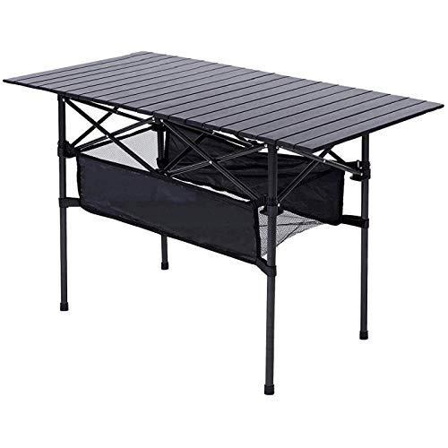 Taimonik プレミアム屋外テーブル テーブルアルミ製 折りたたみテーブル 超軽量材質 収納バッグ付き 携帯便利 ピクニック 吊りメッシュラック付き レジャー キャンプ 用 (120x55x70cm-クラシック黒S1)