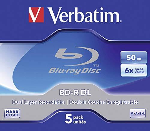 VERBATIM BD-R Dual Layer Blu-ray Rohlinge 50 GB I Blu-ray-Disc mit 6-facher Schreibgeschwindigkeit I mit Kratzschutz I 5er-Pack Jewel Case I Blu-ray-Disks für Video- und Audiodateien